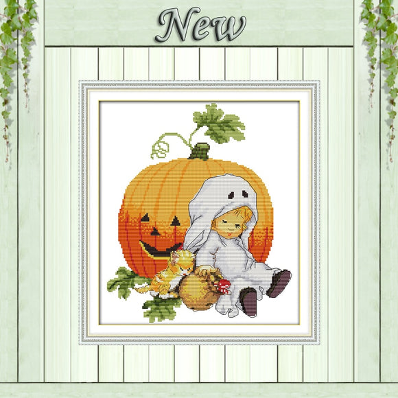 Halloween Pumpkin Cross Stitch Kit