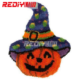 Halloween Pumpkin Latch Hook Rug or Wall Hanging Kit with Yarn and Tool
