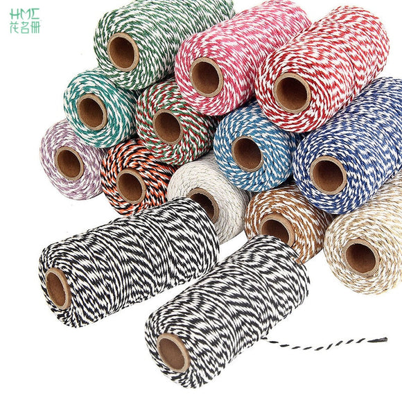 HMC 100M/bag 2mm Two-Color Fine Cotton Cord/Rope/Yarn for Crochet/Knitting Projects