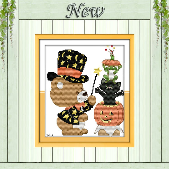 Little Bear Halloween Magic Cross Stitch Kit