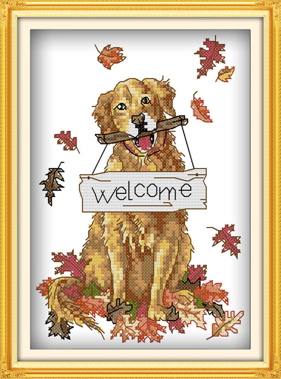 Dog with Welcome Sign Cross Stitch Kit