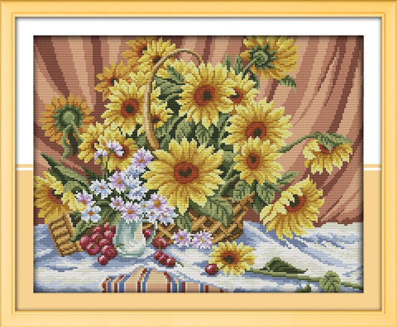 Sunflowers Cross Stitch Kit on Counted or Stamped Cloth with  DMC Floss and Needle