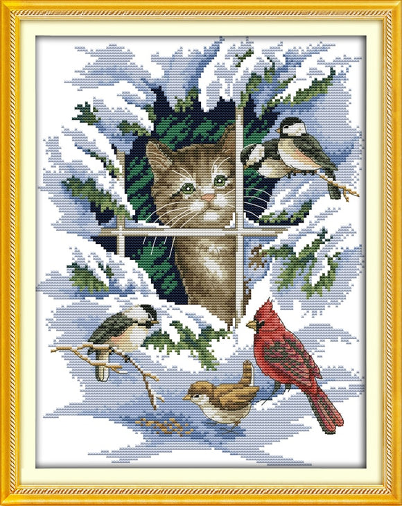 Cat Watching Birds in Winter Scene Cross Stitch Kit