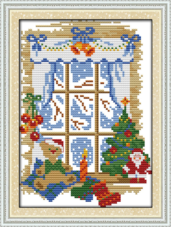 Christmas Through the Window Cross Stitch Kit