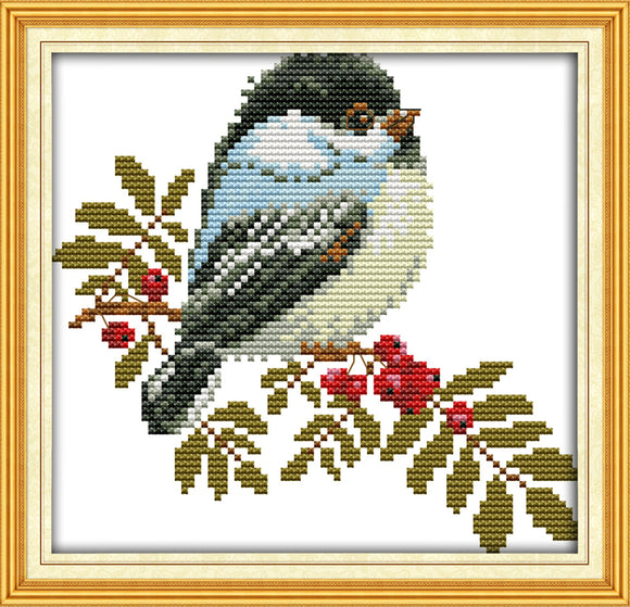 Hawthorn Tree with Exquisite Bird Cross Stitch Kit on Counted or Stamped Cloth with DMC Floss and Needle