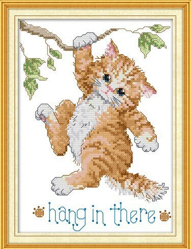 Hang in There Little Cat Cross Stitch Kit  on Counted or Stamped Cloth with DMC Floss and Needle