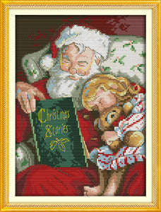 Santa Reads a Christmas Story to Little Girl Cross Stitch Kit on Counted or Stamped Cloth with DMC Thread and Needle