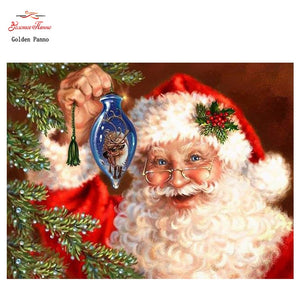 Santa Decorating the Tree Diamond Painting Kit