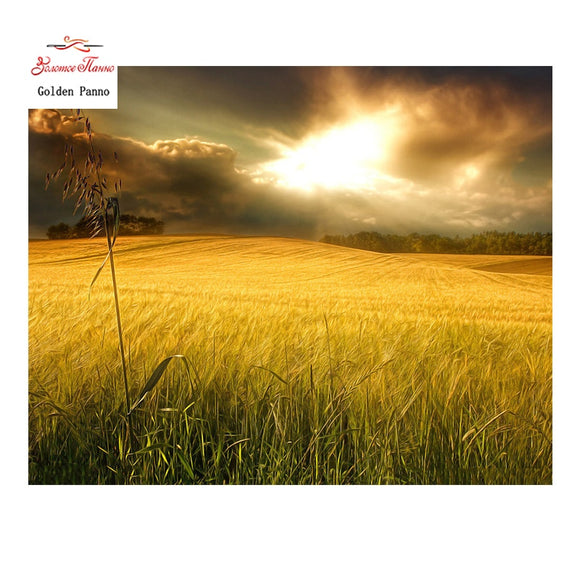 Golden Panno Field Full Square Diamond Painting Kit