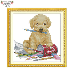 The Dog Painting Cross Stitch kit