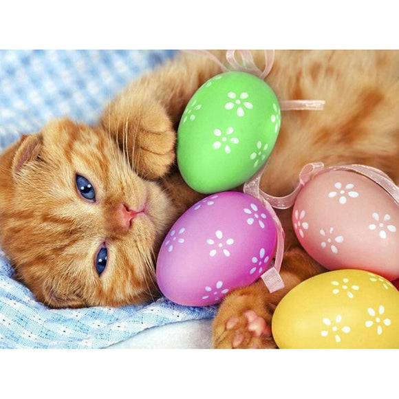 Cat with  Easter Eggs Diamond Painting Kit