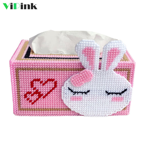 Plastic  Canvas Bunny Tissue Box Cover
