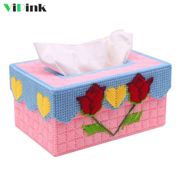 Rose Tissue Box Cover Plastic Canvas Kit