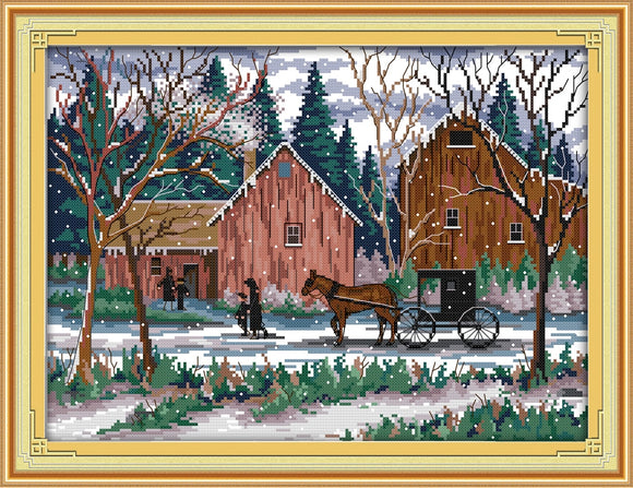 Snowy Day Cross Stitch Kit
