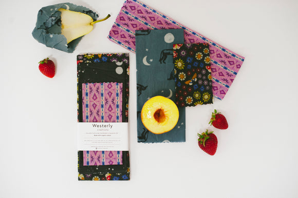Package of Three Reusable Beeswax Food Wraps