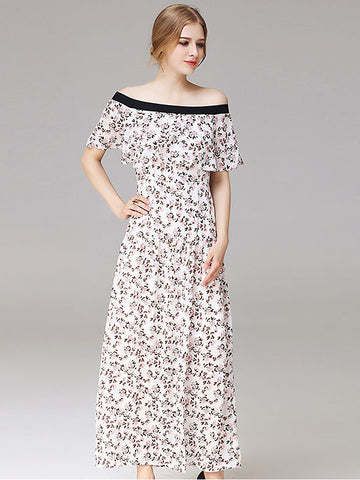 Elegant Slash Neck Floral Print Maxi Dress