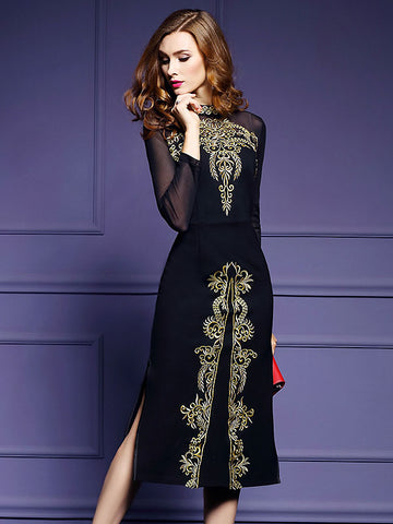 Sexy Embroidery Stand Collar Long Sleeve Dress