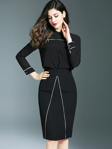 Elegant Turn Down Collar Long Sleeve Two Piece Dress