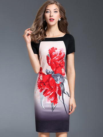 Ethnic Floral Print Short Sleeve Bodycon Dress