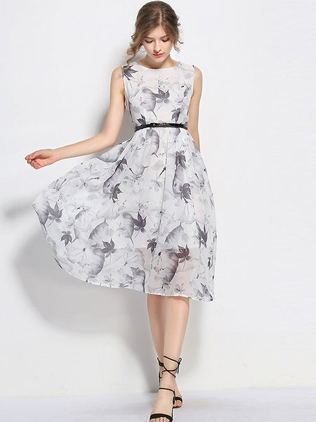Vintage Ink O-Neck Sleeveless A-line Sheath Skater Dress