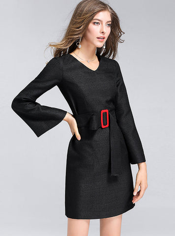 Work Pure Color V-neck Long Sleeve Belted Slim Bodycon Dress