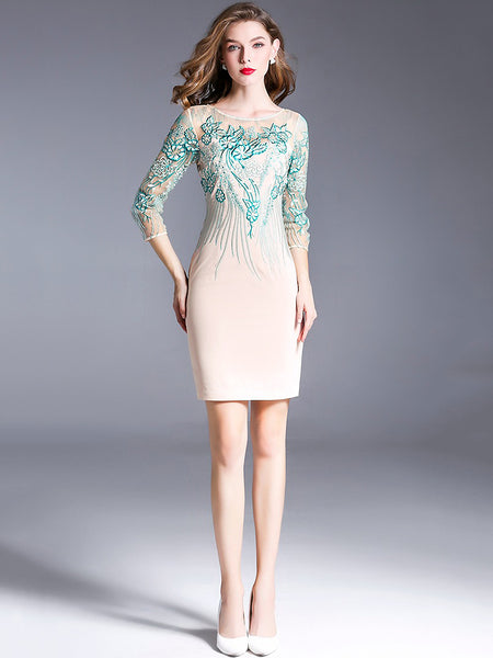 Blue Embroidery Three-Quarters Sleeve Bodycon Dress