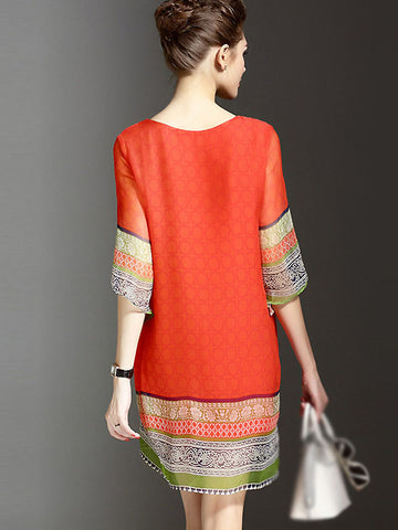 Ethnic O-Neck Silk Print Bead Loose Dress