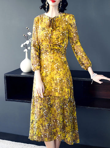 Casual O-Neck Long Puff Sleeve Floral Print Maxi Dress