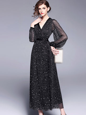 Party V-Neck Long Sleeve Star Pattern Maxi Dress