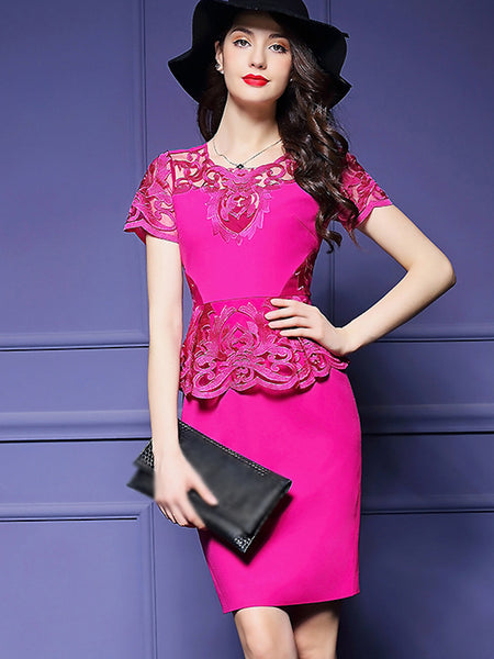 Elegant Embroidery O-Neck Short Sleeve Bodycon Dress