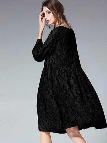Chic O-Neck 3/4 Sleeve Lace Loose Shift Dress