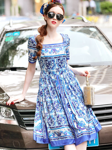 Vintage Square Neck Short Sleeve Print A-Line Dress
