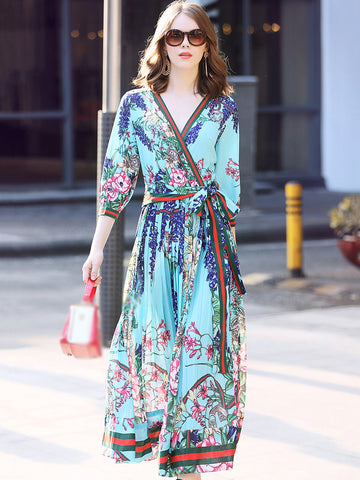 Elegant V-Neck 3/4 Sleeve Lacing Print Wrap Dress