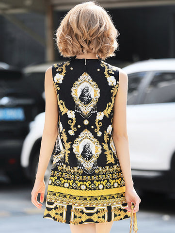 Fashion O-Neck Sleeveless Beaded Fit & Flare Dress