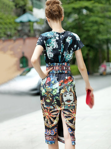 Fashion Chic Pattern O-Neck Short Sleeve Slit Bodycon Dress