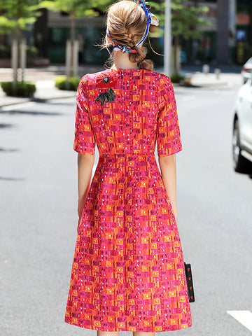 Vintage Embroidery O-Neck Short Sleeve Print Skater Dress