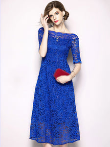 Fashion Lace Boat Neck Paillette A-Line Dress