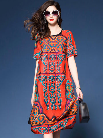 Casual Chiffon O-Neck Short Sleeve Irregular Hem Shift Dress