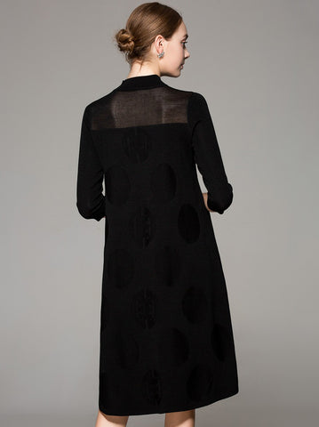 Stand Collar 3/4 Sleeve See-Through Shift Dress
