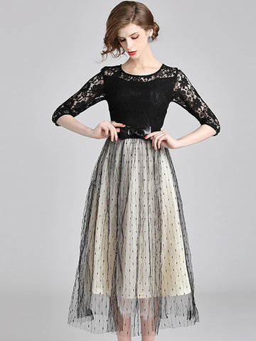 3/4 Sleeve Lace Stitching Mesh Maxi Dress