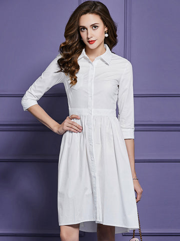3/4 Sleeve Turn-Down Collar Pure Color Shirtdress