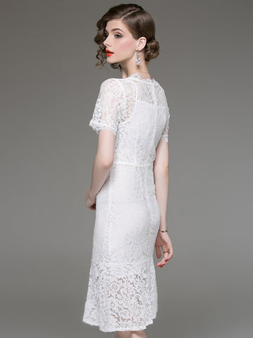 Mermaid Lace O-Neck Short Sleeve A-Line Dress