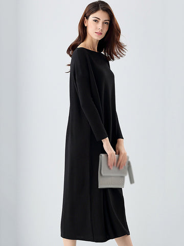 Pure Color O-Neck Long Sleeve Shift Dress