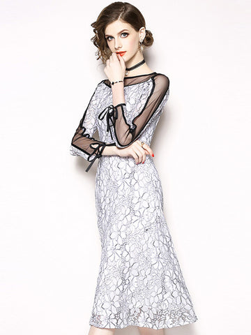Mesh Stitching Lace Long Sleeve Lacing A-Line Dress