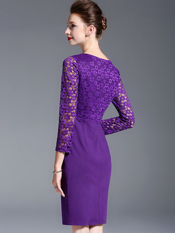 O-Neck Long Sleeve Lace Stitching Bodycon Dress