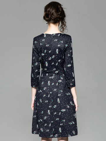 V-Neck 3/4 Sleeve Pocket Print A-Line Dress