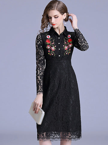 Embroidery Turn-Down Collar Lace Skater Dress