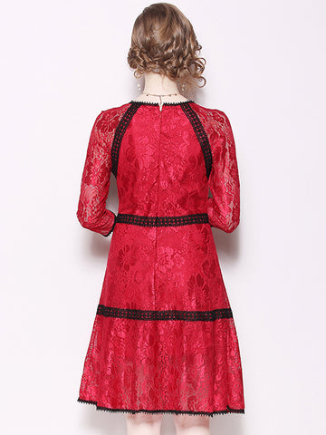 O-Neck 3/4 Sleeve Lace Hit Color Skater Dress