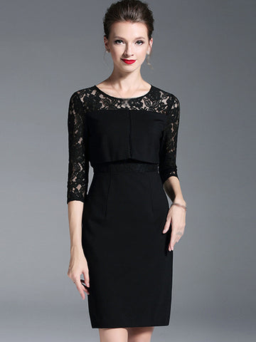 Black Lace Stitching O-Neck 3/4 Sleeve Bodycon Dress