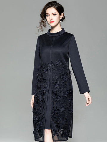 Vintage Embroidery Stand Collar Long Sleeve Shift Dress